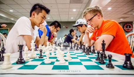 Bo Schmidt, senior in physics and member of the chess club plays against Benson Wang, freshman in ECE.